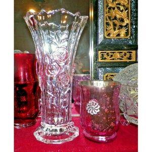 """Vintage Hand Cut Pink Rose Crystal Vase 9.5"""""""